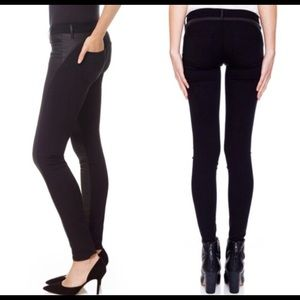 Black Legging Jeans with Leather Detail